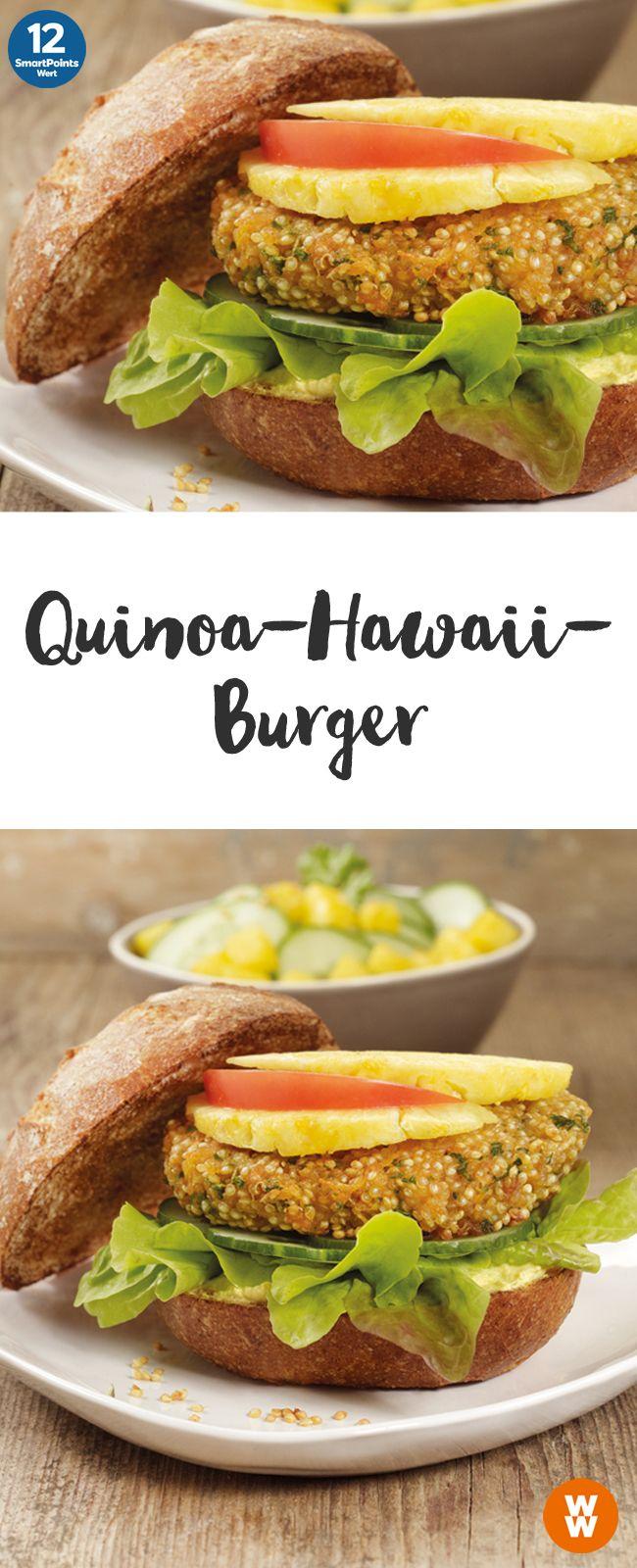 Quinoa-Hawaii-Burger | 2 Portionen, 12 SmartPoints/Portion, Weight Watchers, fertig in 40 min.
