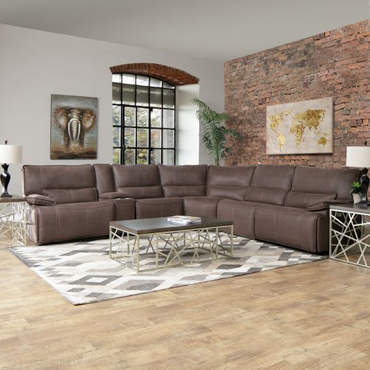 Orlando Brown 6pc Sectional:RAF Power Recliner, LAF Power ...
