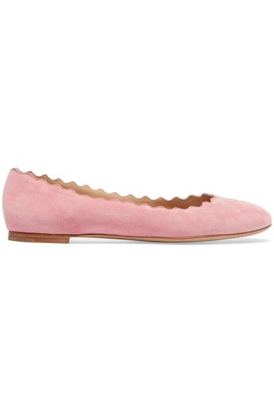 Chloé's iconic 'Lauren' ballet flats are a comfortable and versatile choice for everyday wear. Crafted in Italy from soft pink suede, this round-toe pair has smooth leather linings and signature scalloped trims. Wear yours with denim or dresses.
