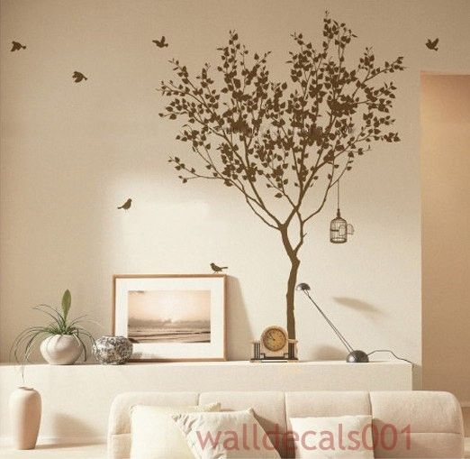 bird and tree wall stencil