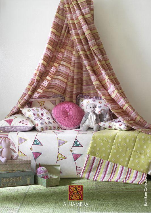 Habitación infantil. Tela banderines en Pandora y Pandorababykids.com