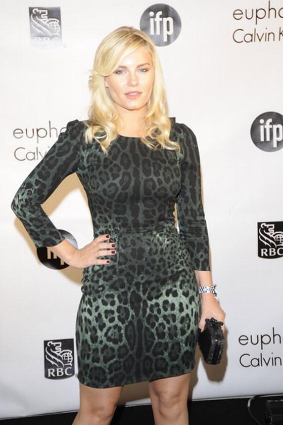 Actress Elisha Cuthbert in a Dolce & Gabbana Green Leopard ...