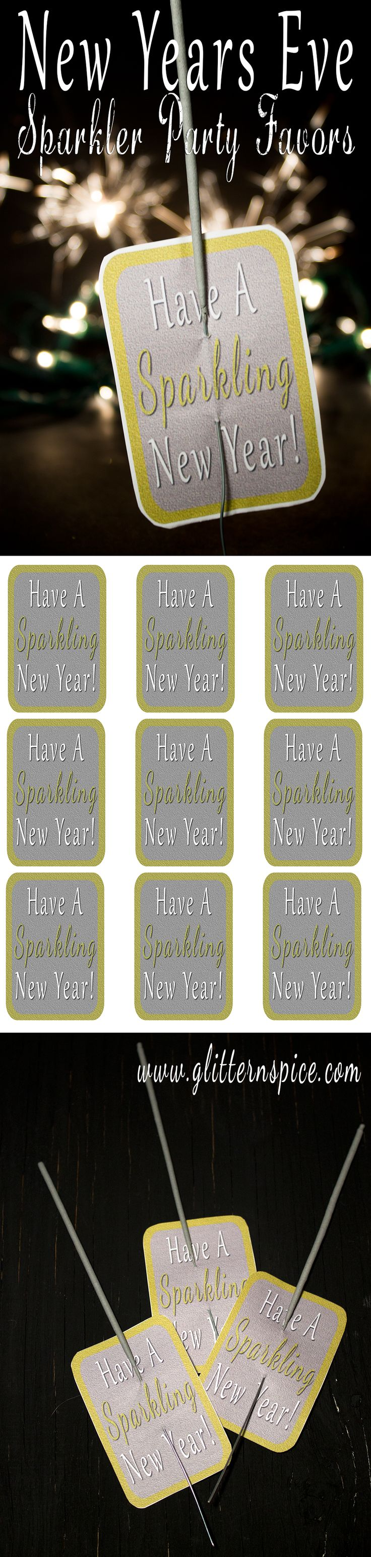Sparkling New Years Eve Party Favors - Includes Free Printable #NewYearsEve #NewYears #printables