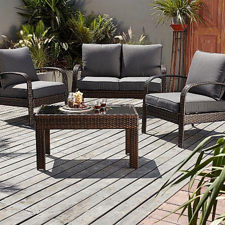 Jakarta Conversation Sofa Set in Charcoal - 4 Piece