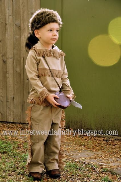 Thirty Minute Costume-- Davy Crockett: fringe added to khaki pants and turtleneck with neck cut down the front.
