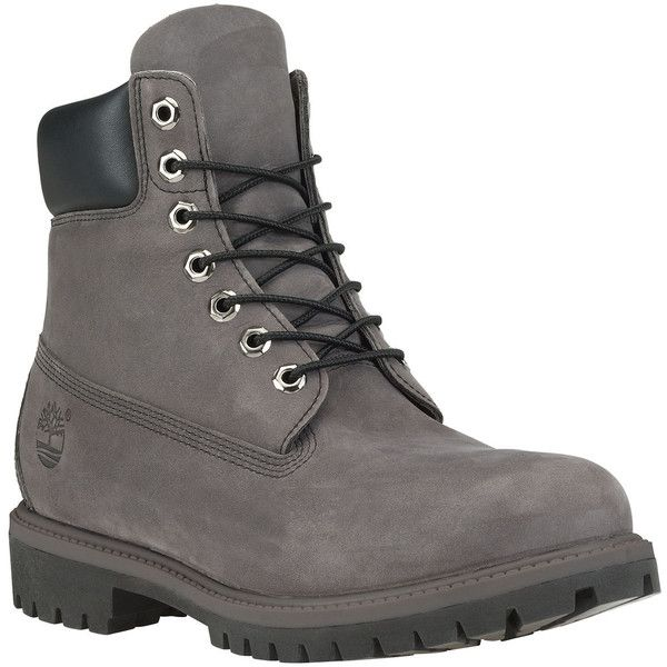 The Timberland Icon 6 Premium Boot in Grey Nubuck & Black ($180) ❤ liked on Polyvore featuring men's fashion, men's shoes, men's boots, boots, grey, mens gray boots, mens faux leather boots, timberland mens boots, mens grey boots and mens black boots