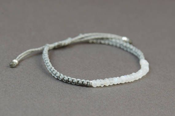 www.etsy.com/shop/Zzaval Bracelet made with Moonstone rondelle beads. Suitable for any size of wrist with the adjustable knot This one is made with light grey thread color but you can choose any color of thread from last picture If you like the other bracelet on wrist picture please go to: