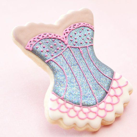 I love these..Glitter Burlesque Lingerie Corset Bachelorette Cookie Party   http://www.etsy.com/listing/97613475/glitter-burlesque-lingerie-corset