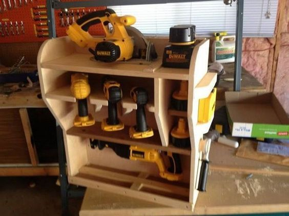 KB - Angled power tool storage Tool Storage Ideas | The Owner-Builder Network
