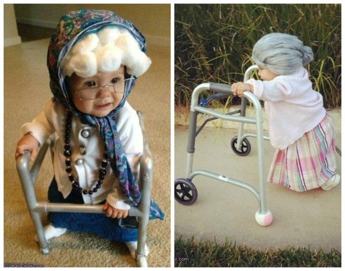 Old Lady Grandma Baby Costume....these are the BEST Homemade Halloween Costumes…