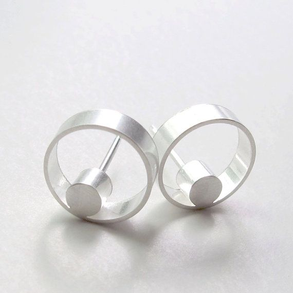 Faunia Earrings Unique Studs Dot Circle Studs Open by WROXdesign