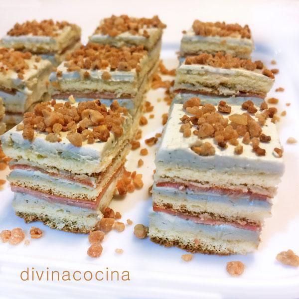 Estos pastelitos de jamón y queso se pueden preparar con las planchas de bizcocho que te recomiendo y también con planchas de pan de molde.