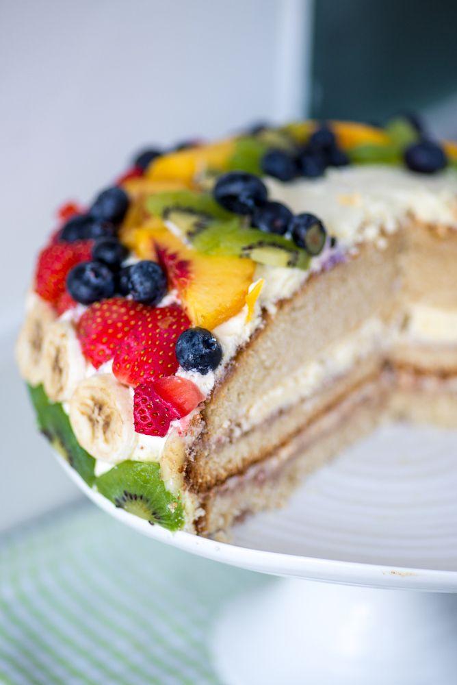 Bløtkake - Norwegian Cream Layer Cake. I'd put fruit in the middle too!