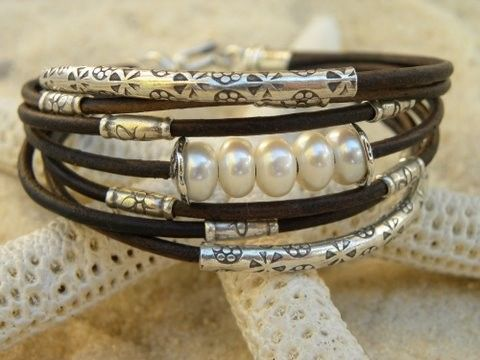 PearlsLeather and Sterling Silver Bracelet by TANGRA2009 on Etsy, $97.00