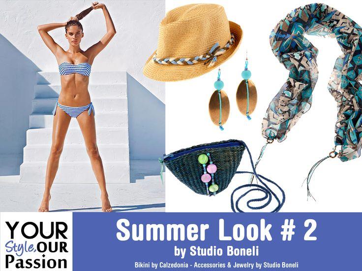 """Summer Look #2 by Studio Boneli! """"The Greek Goddess"""" Μαγιό στα χρώματα του Ελληνικού καλοκαιριού και μοντέρνα αξεσουάρ στους τόνους του ουρανού και της γης! Διαχρωνικό και chic look, εμπνευσμένο από το Αιγαίο μας!  #YSOP #Summertime #Fashion #Style"""