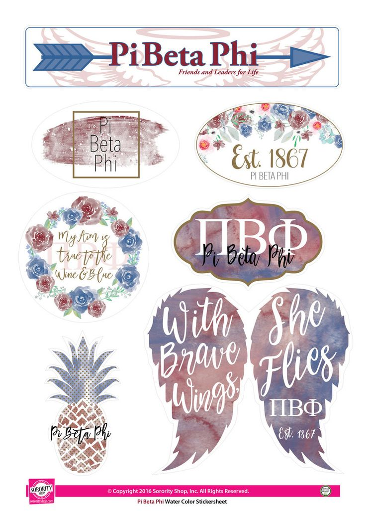 Pi Beta Phi Sorority Stickers- Water Color - Brothers and Sisters' Greek Store