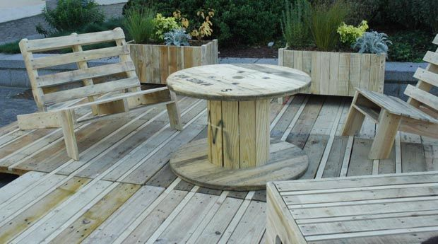 Terrasse meubles palettes deco brico recup pinterest for Meuble patio en palette