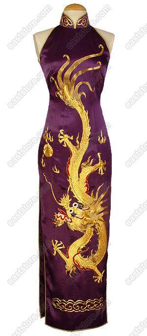 A-one Gold Embroidered Dragon Silk Cheongsam