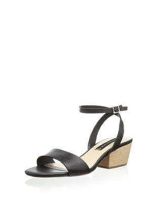 40% OFF STEVEN by Steve Madden Women's Carinn Funky Wedge Sandal (Black Leather)