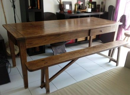 table de ferme en ch ne m tables de salle manger dining bench table et dining. Black Bedroom Furniture Sets. Home Design Ideas