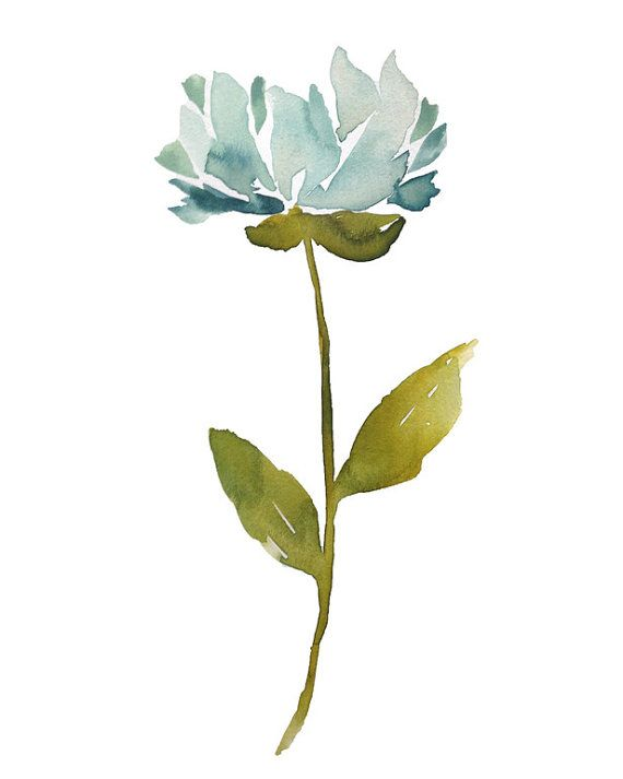 blue ice - peony, flower, painting, watercolor, abstract, impressionist, minimalist, modern, art print, botanical, stem, light blue, giclee
