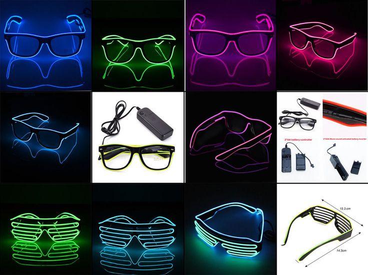 EL Wire Neon LED Light glasses Eyewear Shade For Nightclub Halloween Rave Party  | eBay
