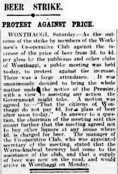 Citizens to petition Premier. Brewery in Warracknabeal comes to the rescue and sends beer. - The Argus 17 July 1916