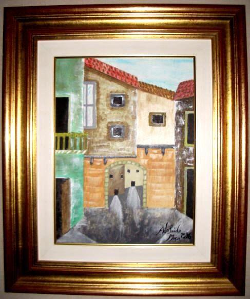 Uma ruela na Invicta.   Uma das primeiras obras da pintora Adelaide Moça  Pintado a óleo sobre tela.   Tamanho: 40*30 com Moldura 62,50*52,50 cm