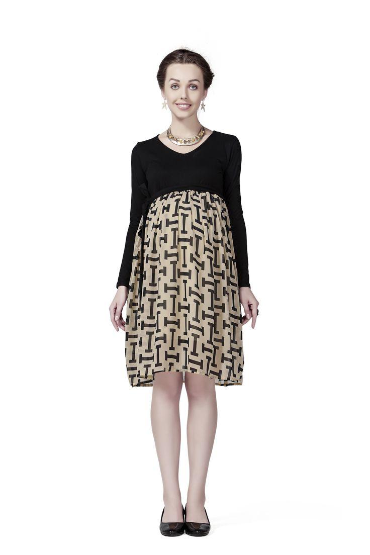 http://tinyurl.com/h86n429 Buy HOUSE OF NAPIUS Black & Beige Viscose & Poly Georgette Radiation Safe'I' Print Designer Dress For Women Online at GetAbhi.com