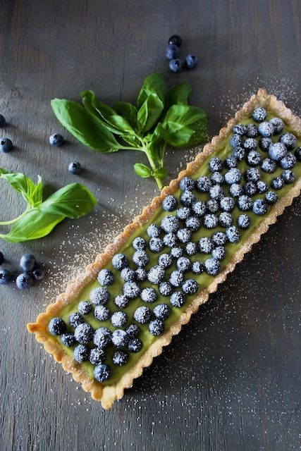 Blueberry Basil Tart - savory basil and sweet blueberries make an unexpected but delicious combo