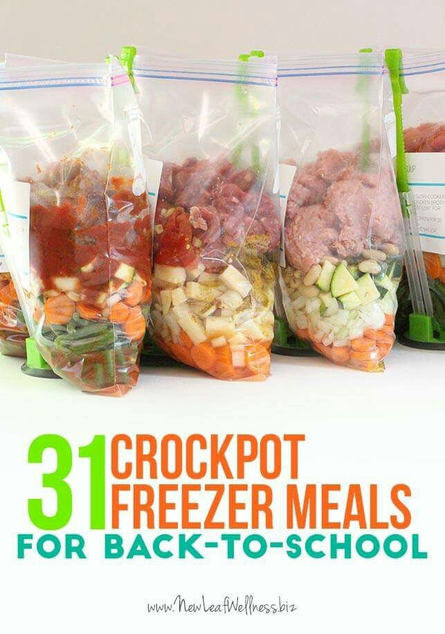 Apparently awesome crockpot & freezer meals on this site. Will have a look. (SH) Let's talk about meal prep. http://newleafwellness.biz/2015/08/06/31-crockpot-freezer-meals-for-back-to-school/