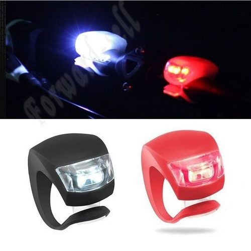 2 Pcs LED Flash Silicone Bike Bicycle Cycling Head Front Rear Wheel Light Lamp - 4$
