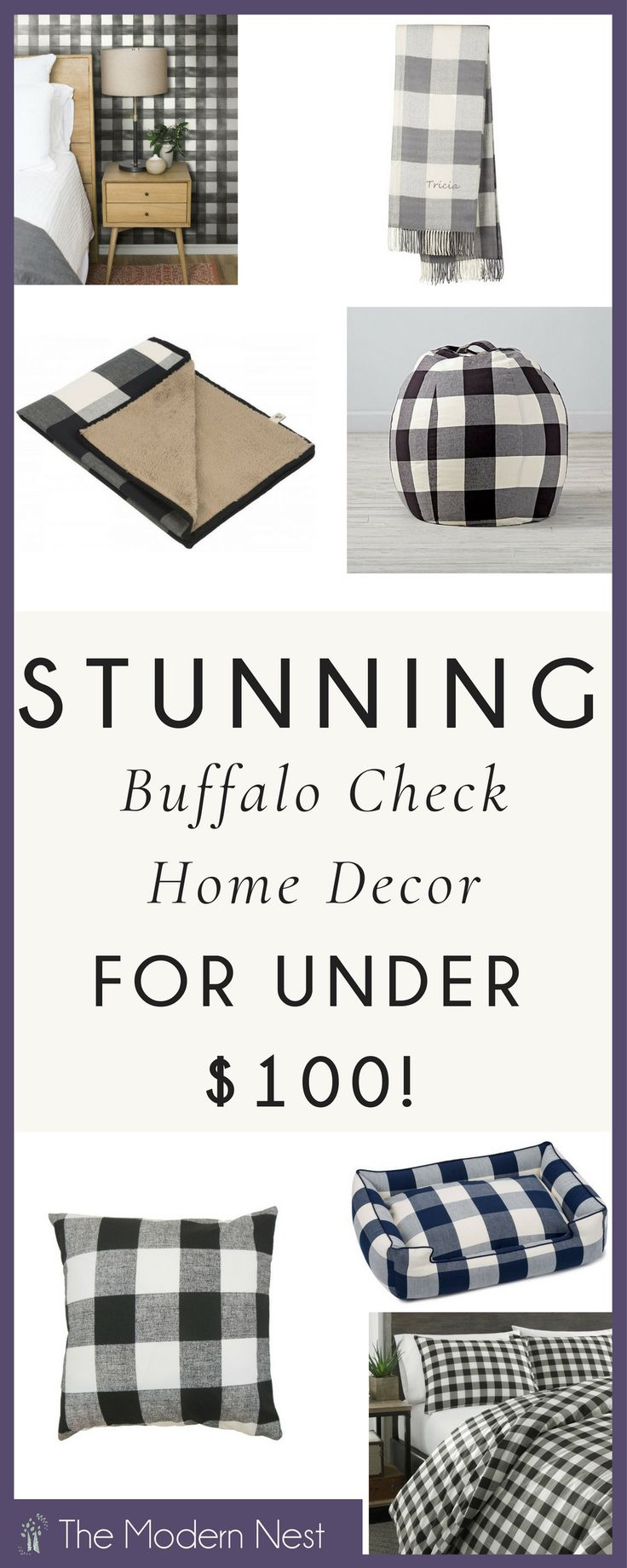 Looking for buffalo check decor on a budget? Look no more! Here's a roundup of over twenty buffalo check items for every room in your home...all under $100! From pillows and blankets to totes and even mugs...this post covers it all! Find more at https://www.themodernnestblog.com/archives/1840