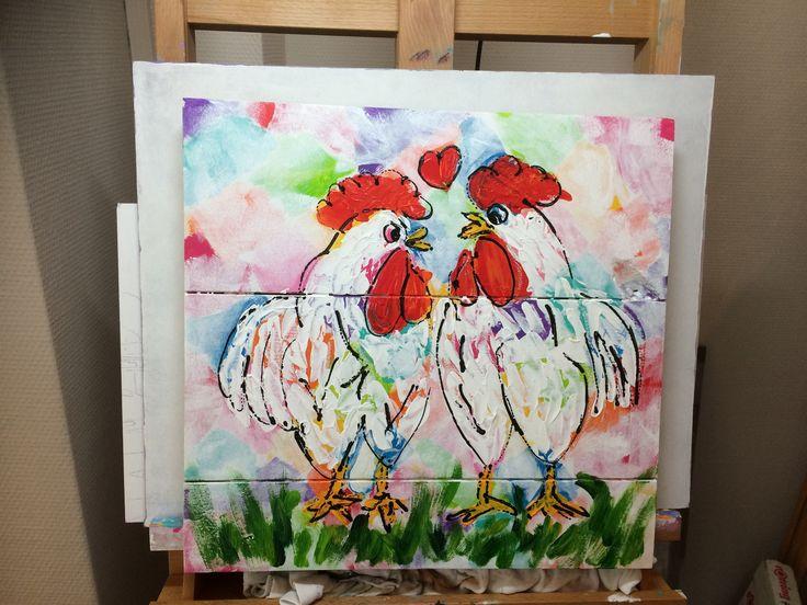 2 hele vrolijke kippen