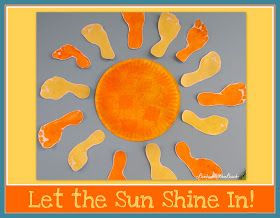 footprint Art, sunshine Art, children's painting, spring art for children, bulletin board