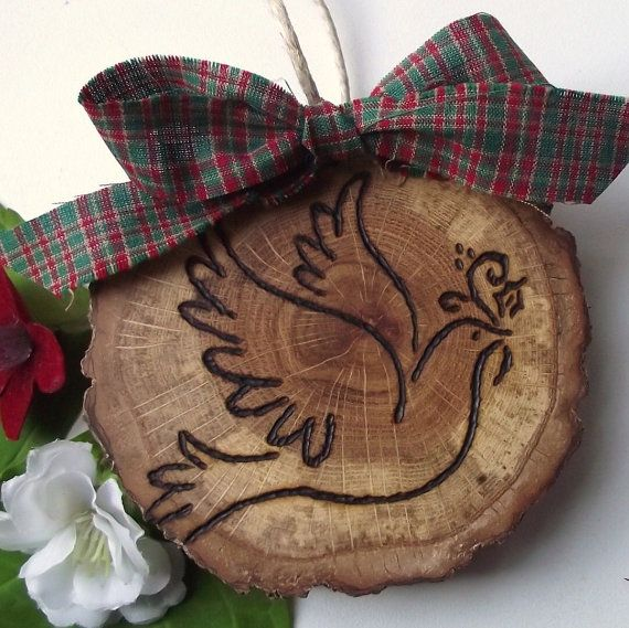 Wood Ornament - Rustic Spalted Oak Wood Wooden Holiday Ornament - Wood Burned Dove of Peace