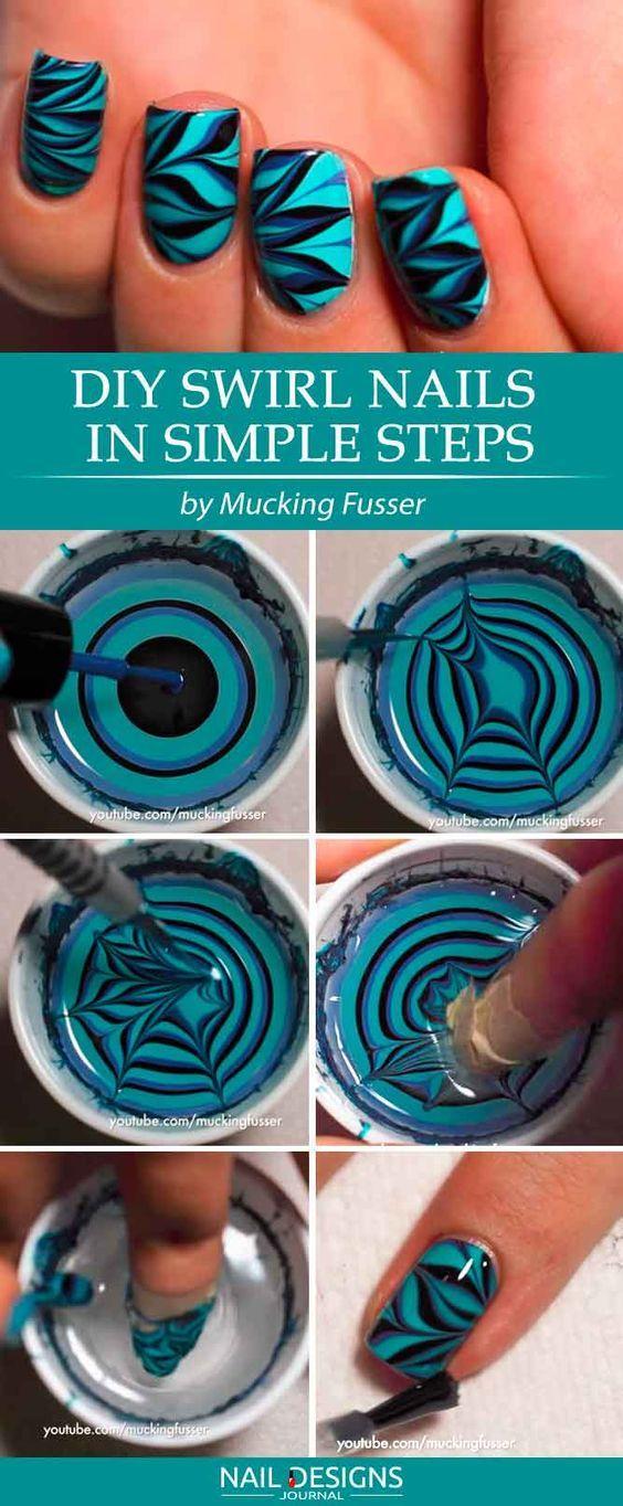 Sie können die Tutorials zu Water Marble Nails zu Hause wiederholen – Fingernägel