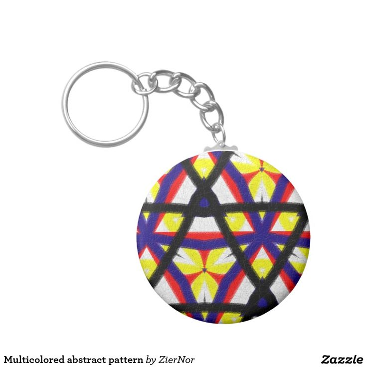 Multicolored abstract pattern basic round button keychain