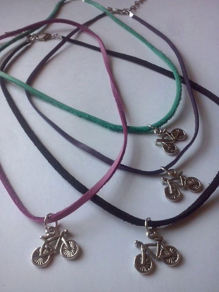 Necklace bike, leather necklace,sport jewelry by TriJewelry on Etsy