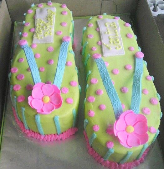 Flip flop cake - Cake is butter cream with a gumpaste decorations