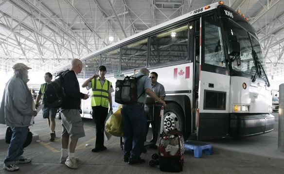 Greyhound Bus — intercity bus service throughout Canada. Closest station from the Sheraton Hotel is the main bus station at 610 Bay Street. https://www.greyhound.ca