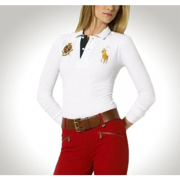 Ralph Lauren V-neck Big Pony Embroidery Red Short Sleeved