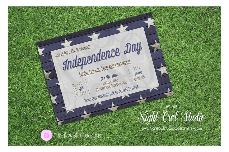 Independence Day Invitation, Memorial Day Invite, BBQ, Rustic, Stars, Veterans Day, Printable by NightOwlStudioDesign on Etsy