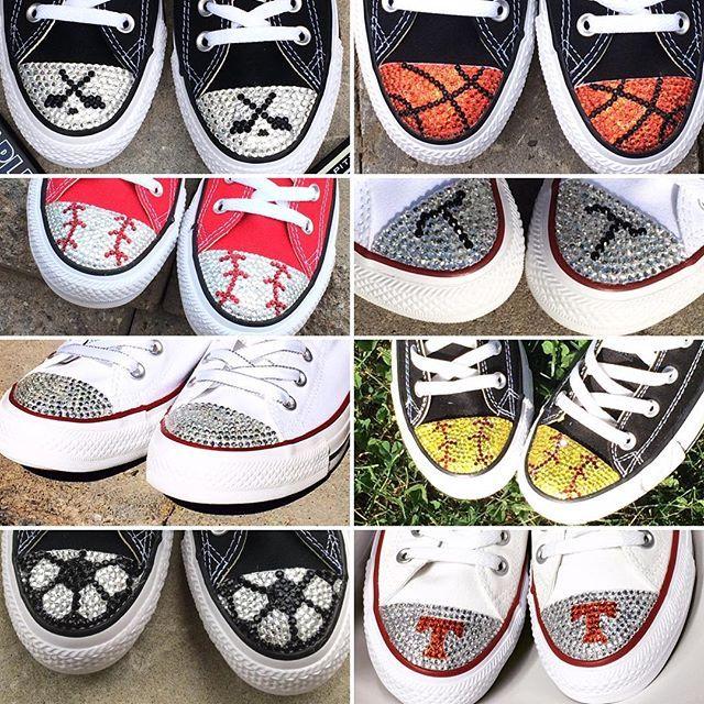 Blinged Converse Shoes!!  #shoesale #baseball #basketball #soccer #softball #hockey #football #monogram #wedding #baseballmom #soccermom #hockeymom #basketballmom #vols #converse #chucks #trickedkicks