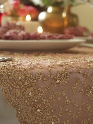 Using A Traditional Zardozi Saree (intricate Golden Threadwork On Tulle) As  A Table Runner