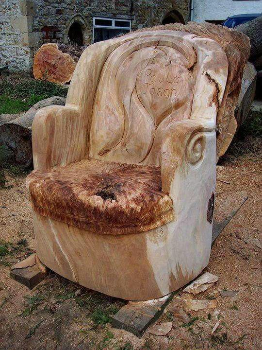 122 best images about chain saw art on pinterest - Chair made from tree trunk ...