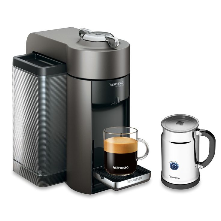 Nespresso VertuoLine Evoluo Deluxe with Aeroccino Plus Milk Frother - Titan   Brew traditional coffee or classic espresso with the deepest, most complex flavour and aroma. Includes the Aeroccino Plus Milk frother to make perfect cappuccinos, lattes and macchiatos! #nespresso #coffee #espresso