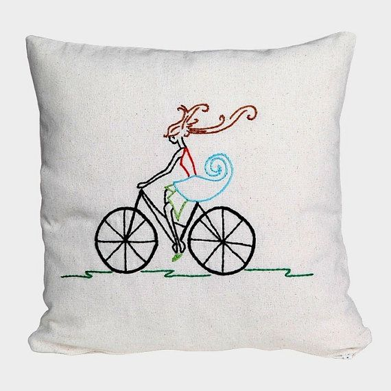 bicycle girl pillow / embroidered pillow cover / by NIARMENA - idea only no pattern