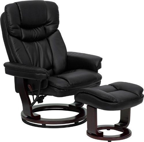 Flash Furniture BT-7821-BK-GG Contemporary Black Leather Recliner/Ottoman with Swiveling Mahogany Wood Base | [Polo's] Furniture