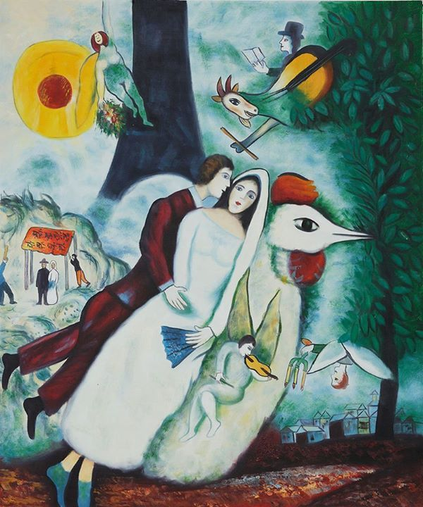 Marc Chagall - The Bridal Pair with the Eiffel Tower